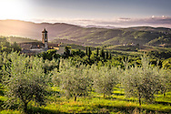 Tuscan valley with a church in a golden sunrise