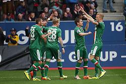 27.04.2014, SGL Arena, Augsburg, GER, 1. FBL, FC Augsburg vs Hamburger SV, 32. Runde, im Bild Torjubel bei Sascha Moelders (# 33, FC Augsburg), Halil Altintop (# 7, FC Augsburg), Andre Hahn (# 28, FC Augsburg), Paul Verhaegh (# 2, FC Augsburg) und Kevin Vogt (# 6, FC Augsburg) v.l. // during the German Bundesliga 32th round match between FC Augsburg and Hamburger SV at the SGL Arena in Augsburg, Germany on 2014/04/27. EXPA Pictures © 2014, PhotoCredit: EXPA/ Eibner-Pressefoto/ Fastl<br /> <br /> *****ATTENTION - OUT of GER*****