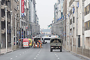 Explosion at Maelbeek Metro station in Brussels. Here  rescue outside one on the entrances to the station at Rue de la Loi, the main traffic lane passing EU Council and Commission. Photo: Erik Luntang