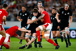 Scott Barrett of New Zealand (All Blacks) tackled by Ross Moriarty of Wales during the Bronze Final match between New Zealand and Wales Mandatory by-line: Steve Haag Sports/JMPUK - 01/11/2019 - RUGBY - Tokyo Stadium - Tokyo, Japan - New Zealand v Wales - Bronze Final - Rugby World Cup Japan 2019