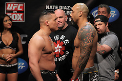 East Rutherford, NJ - May 04, 2012:  Pat Barry (left) and Lavar Johnson (right) during the weigh-ins for UFC on FOX 3 at the Izod Center in East Rutherford, New Jersey.  Ed Mulholland for ESPN.com