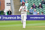 Wicket - Craig Overton of Somerset walk back to the pavilion after being dismissed by Ravi Patel of Middlesex during the Specsavers County Champ Div 1 match between Somerset County Cricket Club and Middlesex County Cricket Club at the Cooper Associates County Ground, Taunton, United Kingdom on 27 September 2017. Photo by Graham Hunt.
