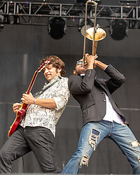 May 25, 2018 - Napa, California, U.S - PETE MURANO and TROY ANDREWS of Trombone Shorty and Orleans Avenue during BottleRock Music Festival at Napa Valley Expo in Napa, California (Credit Image: © Daniel DeSlover via ZUMA Wire)