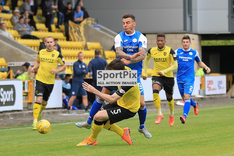 Livingston V Queen of the South Scottish Championship 15 August 2015; Livingston's Craig Sives & Queen of the South's Derek Lyle during the Livingston V Queen of the South Scottish Championship match played at The Energy Assets Arena, Livingston.