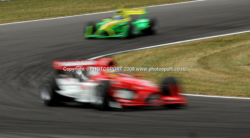 Team Canada leads Team Australia through the burnt rubber of Turn 11.<br /> A1GP Qualifying Day. Taupo Motorsport Park, Taupo, New Zealand. Saturday, 19 January 2008. Photo: Dave Lintott/PHOTOSPORT