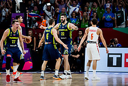 Luka Doncic of Slovenia, Aleksej Nikolic of Slovenia and Ziga Dimec of Slovenia celebrate  during basketball match between National Teams of Slovenia and Spain at Day 15 in Semifinal of the FIBA EuroBasket 2017 at Sinan Erdem Dome in Istanbul, Turkey on September 14, 2017. Photo by Vid Ponikvar / Sportida