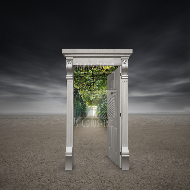 Portal into another dimension represented by a doorway in the middle of a barren wasteland opening into a garden path with a light at the end
