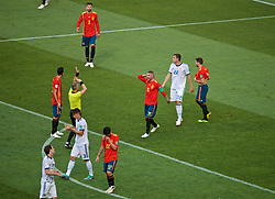 MOSCOW, RUSSIA - Sunday, July 1, 2018: Spain's Sergio Ramos argues with referee Bjorn Kuipers after he awarded Russia a penalty during the FIFA World Cup Russia 2018 Round of 16 match between Spain and Russia at the Luzhniki Stadium. (Pic by David Rawcliffe/Propaganda)