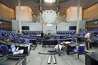 17 OCT 2013, BERLIN/GERMANY:<br /> Handberger bauen die Bestuhlung des Bundestages nach der Bundestagswahl um, Plenum, Deutscher Bundestag<br /> IMAGE: 20131017-01-030<br /> KEYWORDS: Stuehle, Stühle, Plenarsaal, Übersicht, Uebersicht