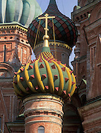Close-up view of cupolas on St. Basi's Cathedral<br /> Moscow, Russia