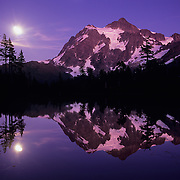 Huge Mt. Shuksan reflects in a pond, North Cascades National Park, WA.