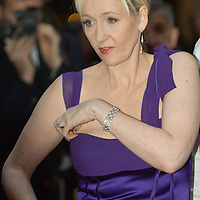 LONDON - APRIL 09: Author JK Rowling with her award for the Outstanding Achievement during the Galaxy British Book Awards held at the Grosvenor House Hotel on April 9, 2008 in London, England.