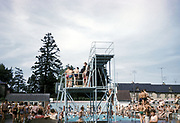 Outdoor swimming pool and diving board, Stowmarket, Suffolk, 1959