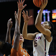 UNCASVILLE, CONNECTICUT- DECEMBER 4: Gabby Williams #15 of the Connecticut Huskies shoots over Kelsey Lang #40 of the Texas Longhorns during the UConn Huskies Vs Texas Longhorns, NCAA Women's Basketball game in the Jimmy V Classic on December 4th, 2016 at the Mohegan Sun Arena, Uncasville, Connecticut. (Photo by Tim Clayton/Corbis via Getty Images)