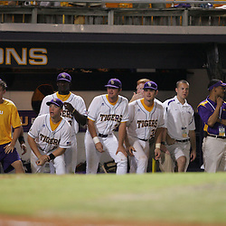 09 June 2008:  With two outs in the ninth inning LSU players lineup in the dugout in preparation of their dog pile celebration. The LSU Tigers advanced to the College World Series with a 21-7 victory over the UC Irvine Anteaters in game three of the NCAA Baseball Baton Rouge Super Regional Alex Box Stadium in Baton Rouge, LA..