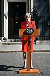 © Licensed to London News Pictures. 24/05/2019. London, UK. British Prime Minister THERESA MAY is seen delivering a statement at Downing Street in Westminster, London, announcing her resignation. The Prime Minister was under huge pressure to quit over her handing of negotiations for the UK's exit from the European Union. Photo credit: Ben Cawthra/LNP