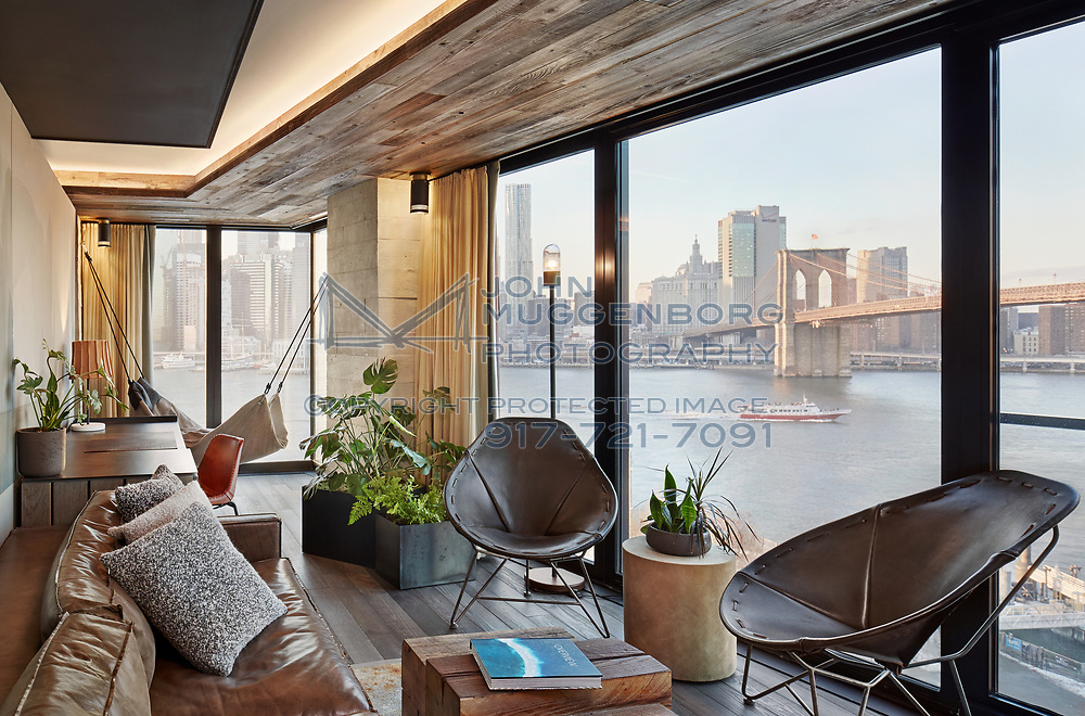 1 Hotel Brooklyn Bridge with lighting design by Lighting Workshop. Photographed by John Muggenborg.