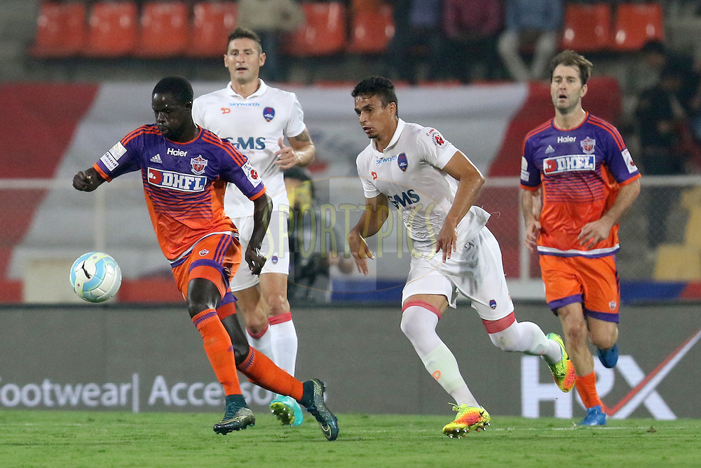 Momar Ndoye of FC Pune City in action during match 42 of the Indian Super League (ISL) season 3 between FC Pune City vs Delhi Dynamos FC held at the Balewadi Stadium in Pune, India on the 18th November 2016.<br /> <br /> Photo by Faheem Hussain / ISL / SPORTZPICS