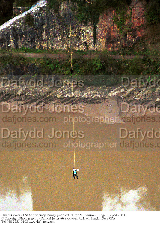 David Kirke's 21 St Anniversary  bungy jump off Clifton Suspension Bridge. 1 April 2000. <br />