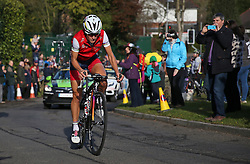 © Licensed to London News Pictures. 30/04/2016. East Rigton, Leeds, UK.  World champion Lizzie Armistead from Otley in the one day women's race of the Tour de Yorkshire tackles the Queen of the Mountain section at East Rigton, part of a 135km route from Otley to Doncaster with a total of £50,000 prize money on offer making it the most lucrative women's race in the world. Photo credit: Chris Booth/LNP