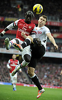 Football - Premier League - Arsenal v Fulham<br />Bacary Sagna and John Arne Rllse