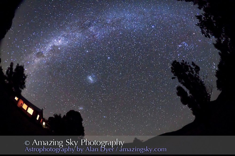 Southern Milky Way from Orion to Centaurus looking south, over Timor Cottage, near Coonabarabran, NSW, Australia, December 12, 2010. Taken with Canon 7D camera and 8mm Sigma fish-eye lens, for 60 seconds at f/3.5 and ISO 3200.