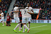 Goal - Anthony Martial (11) of Manchester United celebrates scoring a goal to make the score 1-1 during the Premier League match between Bournemouth and Manchester United at the Vitality Stadium, Bournemouth, England on 3 November 2018.