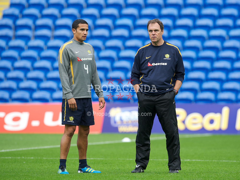 CARDIFF, WALES - Tuesday, August 9, 2011: Australia's head coach Holger Osieck with Everton's Tim Cahill during a training session at the Cardiff City Satdium ahead of the International Friendly match against Wales. (Photo by David Rawcliffe/Propaganda)