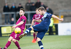 Arbroath's Mark Whatley and Forfar Athletic's Danny Denholm. half time : Forfar Athletic 0 v 0 Arbroath, Scottish Football League Division Two game played 10/12/2016 at Station Park.