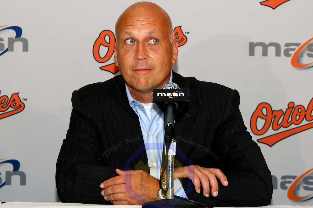 24 July 2007:  Former Baltimore Orioles player Cal Ripken, Jr. attends a news conference prior to the Oriole's game against the Tampa Bay Devil Rays. Ceremonies were held to honor Ripken's induction into the Hall of Fame this Sunday, July 29, 2007.  The Orioles defeated the Devil Rays 3-0 at Camden Yards in Baltimore, MD.   ****For Editorial Use Only****