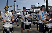 Dec 31, 2017; Carson, CA, USA; Members of the Los Angeles Chargers thunderbolts drumline perform during tailgate festivities before an NFL football game against the Oakland Raiders at StubHub Center.