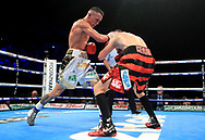 Josh Warrington (left) in action against Dennis Ceylan during their Featherweight bout at the First Direct Arena, Leeds.