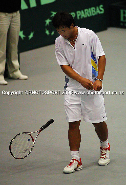 Peng Sun throws his raquet down in frustration after losing a point to GD Jones in the tiebreak at the end of the second set.<br /> Davis Cup Tennis singles, final day - New Zealand v China at TSB Stadium, New Plymouth, New Zealand. Sunday, 21 September 2008. Photo: Dave Lintott/PHOTOSPORT