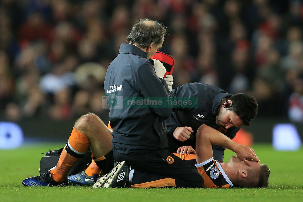 10th January 2017 - EFL Cup (Semi-Final) - Manchester United v Hull City - Markus Henriksen of Hull lies down with an injury - Photo: Simon Stacpoole / Offside.