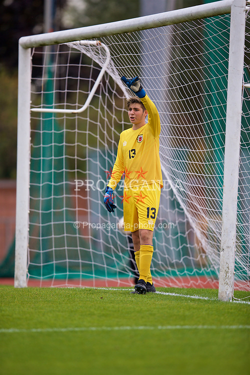 NEWPORT, WALES - Sunday, September 24, 2017: Gibraltar's goalkeeper Ethan Penfold during an Under-16 International friendly match between Wales and Gibraltar at the Newport Stadium. (Pic by David Rawcliffe/Propaganda)