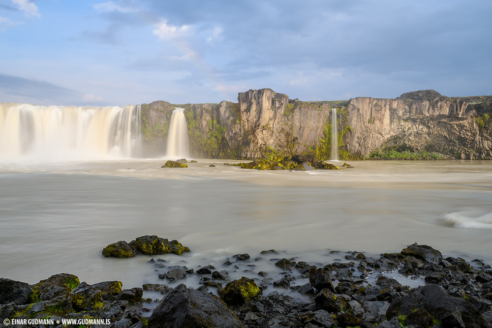 Godafoss waterfall is in Northeast-Iceland.