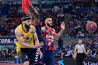 Baskonia's Ilimane Diop and Adam Hanga and Iberostar Tenerife's David White during Quarter Finals match of 2017 King's Cup at Fernando Buesa Arena in Vitoria, Spain. February 16, 2017. (ALTERPHOTOS/BorjaB.Hojas)