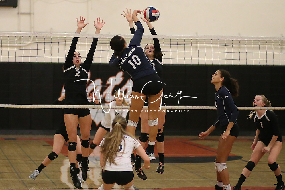 (Photograph by Bill Gerth for SVCN) Los Gatos #8 Alex Anthony gets the block as #2 Isabelle Issak helps at the net vs Carlmont in a CCS Division 1 Semi Final Girls Volleyball Game at Los Gatos High School, Los Gatos CA on 11/9/16.  (Los Gatos defeated Carlmont 3-0, 25-21, 25-17, 25-16)
