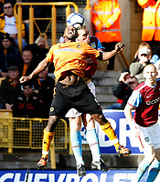 Photo: Steve Bond/Richard Lane Photography. Wolverhampton Wanderers v Aston Villa. Barclays Premiership 2009/10. 24/10/2009. Sylvan Ebanks-Blake (front) and Richard Dunne in the air