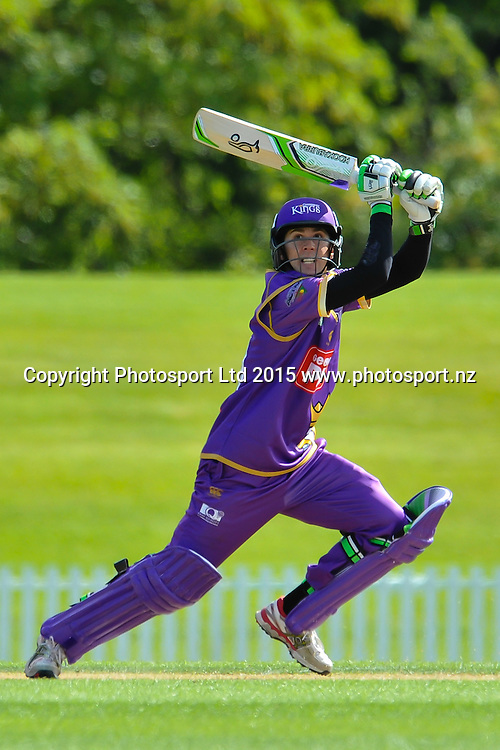 Todd Astle of the Canterbury Kings hits out during the Georgie Pie Super Smash Twenty20 cricket game, Canterbury V Otago, at Hagley Oval, Christchurch. 12th November 2015. Copyright Photo: John Davidson/www.photosport.nz