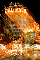 """""""Cal-Neva, Reno""""  This Cal-Neva sign was photographed in Downtown Reno, Nevada. The effect was obtained in camera by long exposure mixed with intentional camera movement."""