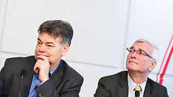 18.12.2014, Presseclub Concordia, Wien, AUT, Gemeinsame Pressekonferenz von den Oppositionsparteien FPÖ, Grüne und Neos zur Einbringung einer Verfassungsklage gegen die Hypo Sondergesetze. im Bild v.l.n.r. Stv. Klubobmann und Budgetsprecher der Gruenen Werner Kogler und Nationalratsabgeordneter FPÖ Elmar Podgorschek // f.l.t.r. Assistant-leader and budgetary speaksman of the greens Werner Kogler and Member of Parliament FPOe Elmar Podgorschek during press conference of the opposition partys about constitutional challange against Hypo Alpe Adria bank act at press club concordia in Vienna, Austria on 2014/12/18. EXPA Pictures © 2014, PhotoCredit: EXPA/ Michael Gruber