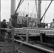 31/07/1962<br /> 07/31/1962<br /> 31 July 1962<br /> Oil drilling equipment arrives at North Wall, Dublin. Image shows unloading of oil drilling machinery for Ambassador Irish oil. View of the equipment on the ships deck.