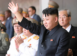 60219297  <br /> Kim Jong Un, top leader of the Democratic People s Republic of Korea (DPRK), addresses the troops during a military parade held in Pyongyang, DPRK, July 27, 2013.  DPRK held a military parade marking the 60th anniversary of the Korean War Armistice Agreement here on Saturday, the official KCNA news agency reported.<br /> Pyongyang, North Korea, <br /> Saturday, July 27, 2013<br /> Picture by imago / i-Images<br /> UK ONLY