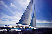 Gaia sailing in the Old Road Race at the 2011 Antigua Classic Yacht Regatta.