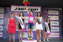 Annemiek van Vleuten (NED) of Orica Scott Cycling Team celebrates retaining the purple jersey after Stage 7 of the Giro Rosa - a 141.9 km road race, between Isernia and Baronissi on July 6, 2017, in Isernia, Italy. (Photo by Balint Hamvas/Velofocus.com)