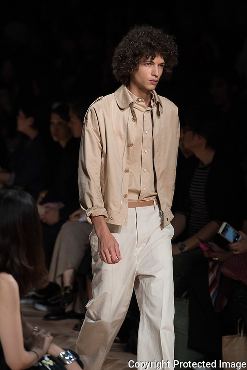 OCTOBER 20: A model  presents the Beautiful People collection at the Amazon Fashion Week Tokyo's 2017 Spring/Summer show under way at Shibuya Hikarie in Tokyo on Oct. 20, 2016. and other locations through 23rd.The designer Hidenori Kumakiri was born in Kanagawa-ken in 1974. Nearly 50 fashion brands and companies will hold their shows at several locations through 23rd.. 20/10/2016-Tokyo, JAPAN