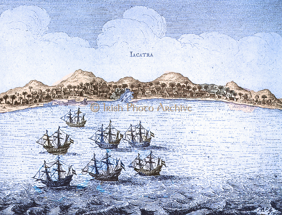 The Javanese city, Jacata (Jakarta). The office by Pieter Both built close by, was established in 1618 by Pieter van den Broecke by order of J.P.Coen, strengthened into a fortress of defence against the Dutch and English Bantam.