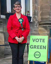 Pictured: Maggie Chapman, number one on the Scottish Greens list of EU candidates was up early to welcome voters at Portobello Town Hall.<br />