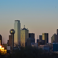 Downtown Dallas skyline at dusk